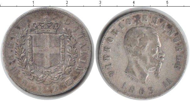 Картинка Монеты Италия 2 лиры Серебро 1863