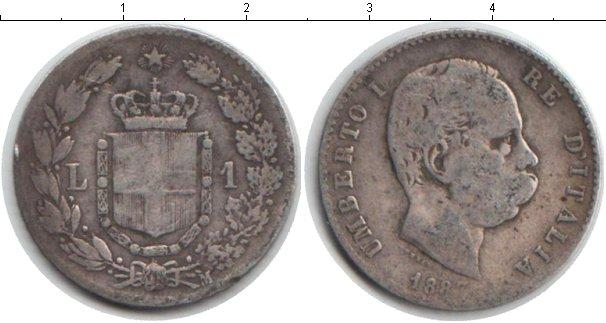 Картинка Монеты Италия 1 лира Серебро 1887
