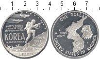 Изображение Мелочь США 1 доллар 1991 Серебро Proof- Война в Корее 1953