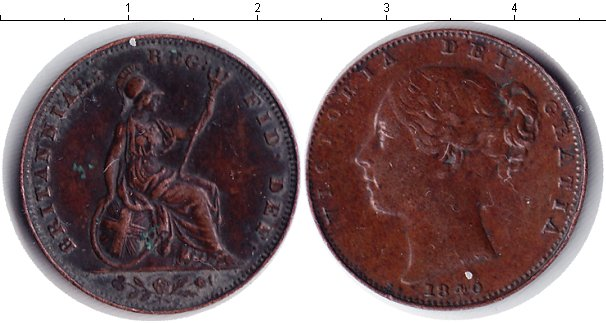 Картинка Монеты Великобритания 1 фартинг Медь 1840