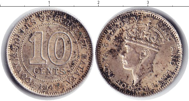 Картинка Монеты Малайя 10 центов Серебро 1945