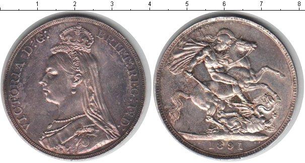 Картинка Монеты Великобритания 1 крона Серебро 1891