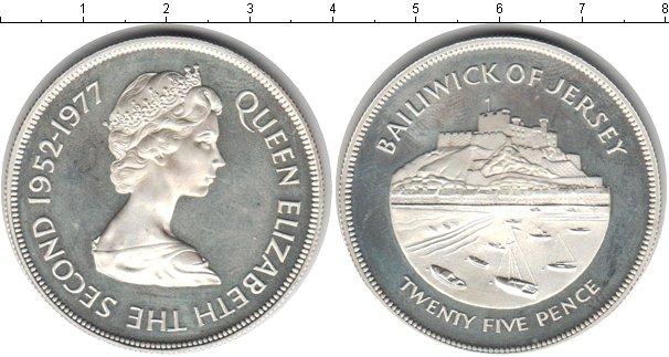Картинка Монеты Остров Джерси 25 пенсов Серебро 1977