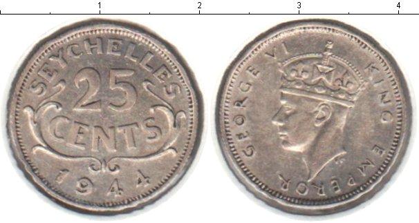 Картинка Монеты Сейшелы 25 центов Серебро 1944