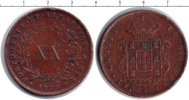 Картинка Монеты Португалия 20 рейс Медь 1878