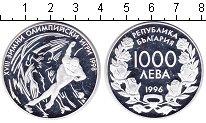 Изображение Монеты Болгария 1000 лев 1996 Серебро Proof- XVIII зимние олимпий