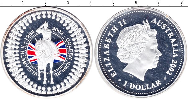 Картинка Монеты Австралия 1 доллар Серебро 2002