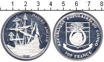 Изображение Монеты Конго 500 франков 1991 Серебро Proof- парусное судно