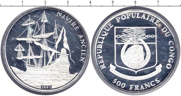 Картинка Монеты Конго 500 франков Серебро 1991