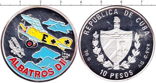 Картинка Монеты Куба 10 песо Серебро 1994