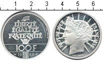 Изображение Монеты Франция 100 франков 1988 Серебро Proof- Статуя Свободы.