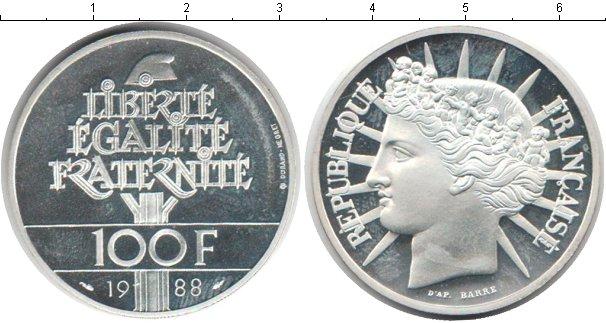 Картинка Монеты Франция 100 франков Серебро 1988