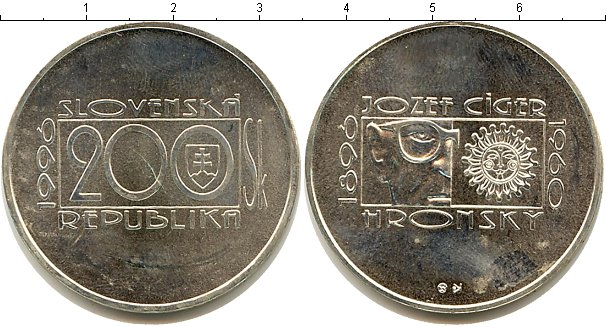 Картинка Монеты Словакия 200 крон Серебро 1996