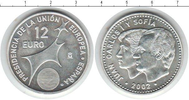 Картинка Мелочь Испания 12 евро Серебро 2002