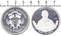 Изображение Монеты Того 1000 франков 2002 Серебро Proof Макс Планк