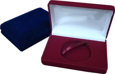 Картинка Аксессуары для монет Бархат Подарочный футляр для крупной монеты Ø 74-75 мм - синий бархат  0