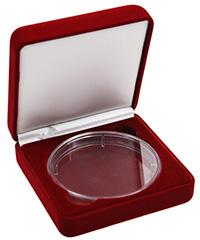 Изображение Аксессуары для монет Бархат Подарочный футляр для крупной монеты Ø 74-75 мм- бордовый бархат 0