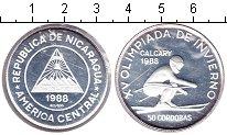 Изображение Монеты Никарагуа 50 кордоба 1988 Серебро Proof-