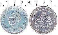 Изображение Монеты Гамбия 10 даласи 1975 Серебро UNC- 10 лет независимости