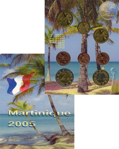 Изображение Подарочные монеты Мартиника Набор монет Евро-модель 2005  UNC 8 моделей евро-монет