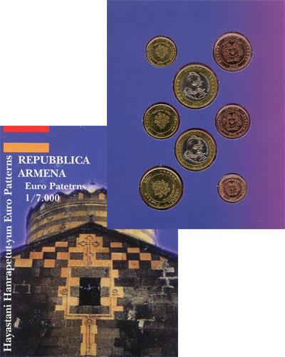 Изображение Подарочные монеты Армения Набор монет Евро-модель 2004  UNC 8 моделей евро-монет