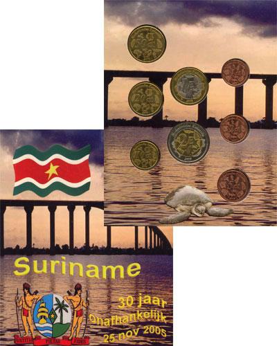 Изображение Подарочные монеты Суринам Набор монет Евро-модель 2005  UNC 8 моделей евро-монет