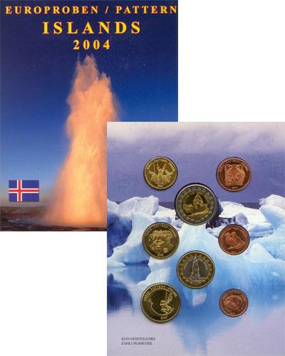 Изображение Подарочные монеты Исландия Набор монет Евро-модель 2004  UNC 8 моделей евро-монет