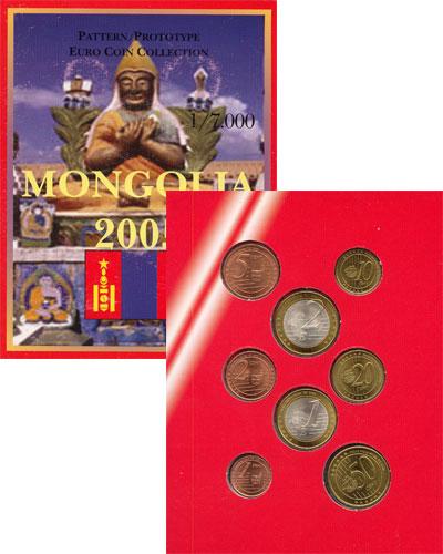 Изображение Подарочные монеты Монголия Набор монет Евро-модель 2005  UNC 8 моделей евро-монет