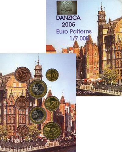 Изображение Подарочные монеты Данциг Набор монет Евро-модель 2005  UNC 8 моделей евро-монет