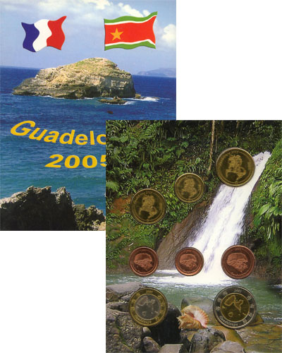 Изображение Подарочные монеты Гваделупа Набор монет Евро-модель 2005  UNC 8 моделей евро-монет