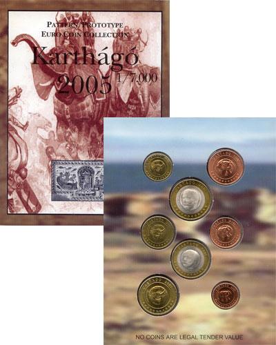 Изображение Подарочные монеты Карфаген Набор монет Евро-модель 2005  UNC 8 моделей евро-монет