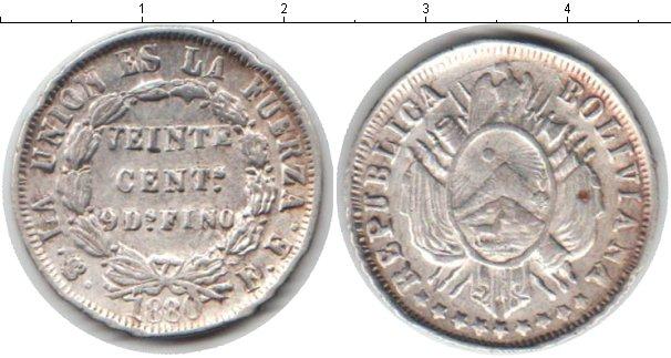 Картинка Монеты Боливия 20 сентаво Серебро 1880