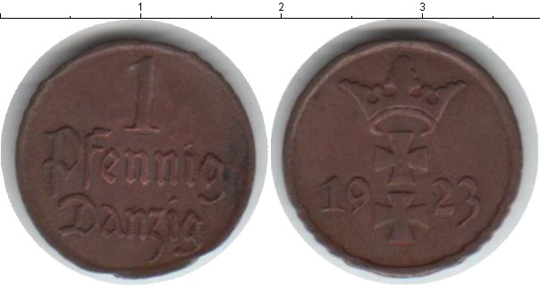 Картинка Монеты Данциг 1 пфенниг Медь 1923