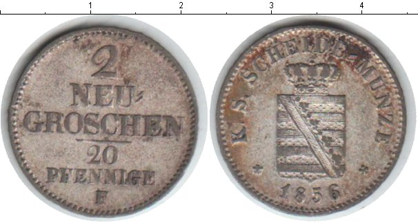 Картинка Монеты Саксония 2 гроша Серебро 1856