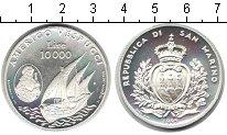 Изображение Монеты Сан-Марино 10000 лир 1995 Серебро Proof- Великие мореплавател