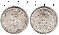 Изображение Монеты Веймарская республика 3 марки 1925 Серебро XF 1000-летие Рейнской
