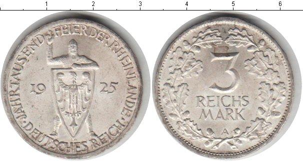 Картинка Монеты Веймарская республика 3 марки Серебро 1925