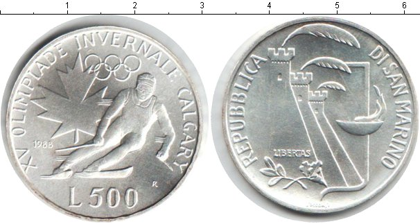 Картинка Монеты Сан-Марино 500 лир Серебро 1988
