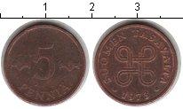 Изображение Мелочь Финляндия 5 пенни 1973 Медь XF