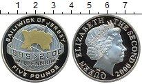 Изображение Монеты Остров Джерси 5 фунтов 2000 Серебро Proof- Елизавета II. Миллен