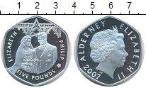 Изображение Монеты Олдерни 5 фунтов 2007 Серебро Proof- Елизавета II и Филип