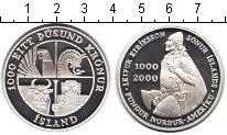 Изображение Мелочь Исландия 1000 крон 2000 Серебро Proof- 1000-летие Эрикссона