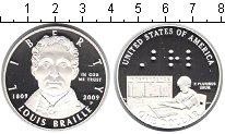 Изображение Монеты США 1 доллар 2009 Серебро Proof- Луис Брайле