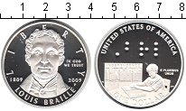 Изображение Монеты США 1 доллар 2009 Серебро Proof- Луис Брейлле