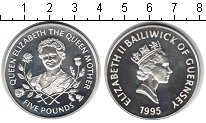 Изображение Монеты Гернси 5 фунтов 1995 Серебро Proof- Елизавета II.