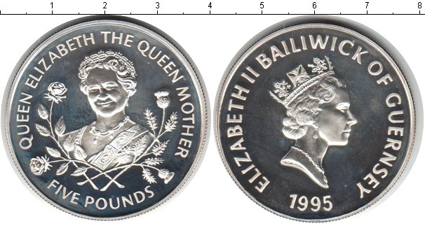 Картинка Монеты Гернси 5 фунтов Серебро 1995