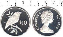 Изображение Монеты Фиджи 10 долларов 1978 Серебро Proof- Елизавета II. птичка