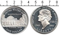Изображение Мелочь США 1 доллар 1993 Серебро Proof- 250 лет со дня рожде