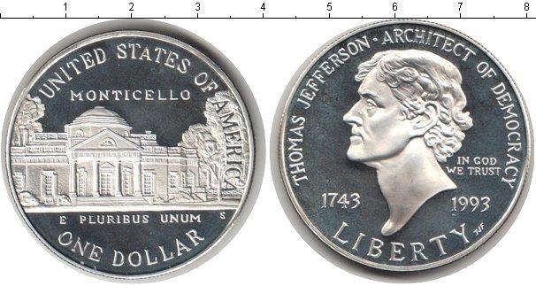 Картинка Мелочь США 1 доллар Серебро 1993