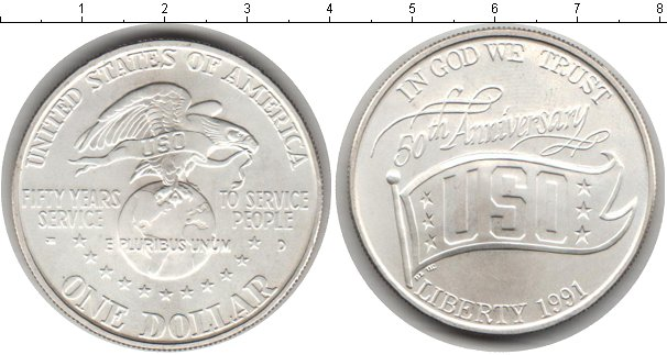 Картинка Мелочь США 1 доллар Серебро 1991